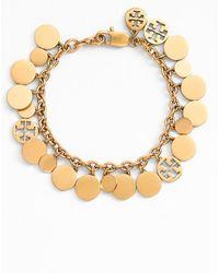 Tory Burch Logo Charm Bracelet - Worn Gold gold - Lyst