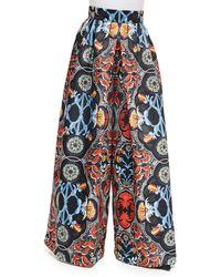 Alice + Olivia Baroque-Print High-Waist Pants multicolor - Lyst