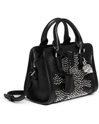 Alexander McQueen 'Padlock' Mini Floral Patchwork Stud Leather Bag black - Lyst