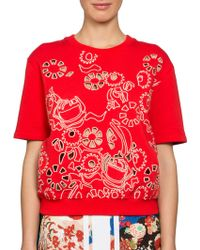 Carven Embroidered Short-Sleeve Cotton Sweatshirt red - Lyst