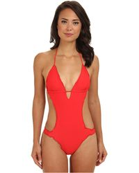 Vix Sofia By Solid Scarlet Ripple One Piece - Lyst