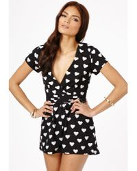 Missguided Anisha Heart Print Wrap Romper in Black - Lyst