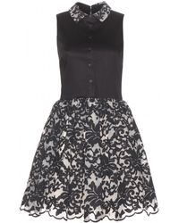 Alice + Olivia Avery Embroidered Dress black - Lyst