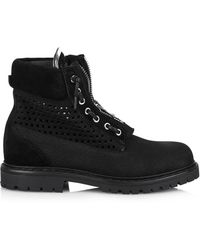 Balmain Tundra Perforated Suede Boots - Lyst
