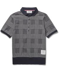 Thom Browne Printed Cotton-Jersey Polo Shirt - Lyst