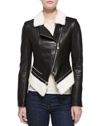 Dl2 By Dawn Levy Leather Jacket W/Faux-Shearling - Lyst