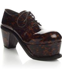 JW Anderson - Brown Tortoiseshell Patent Platform Derby Shoes - Lyst