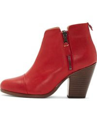Rag & Bone Red Leather Ankle Zip Margot Boot - Lyst