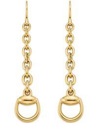 Gucci Horsebit 18ct Yellow-gold Drop Earrings - Lyst