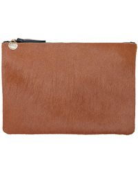 Clare V. | Flat Clutch In Camel Calf Hair | Lyst