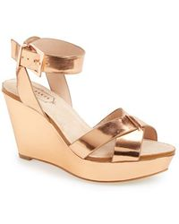 Ted Baker 'Merlotte' Metallic Leather Wedge Sandal - Lyst
