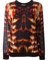 Roberto Cavalli Layered Flame Print Sweater - Lyst