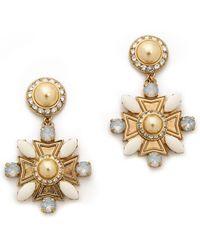 Tory Burch Selma Maltese Cross Drop Earrings Ivoryantique Bronze - Lyst