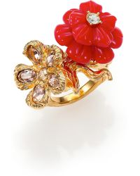 Alexander McQueen Mixed Flower Ring red - Lyst