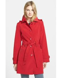 Gallery Polka Dot Trim Single Breasted Trench Coat - Lyst