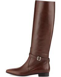 Prada Vitello Flat Knee Boot - Lyst