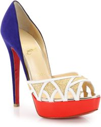 Christian Louboutin Ekaia Glittered-Front Suede & Leather Pumps gold - Lyst