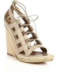 Aquazzura Amazon Espadrille & Wooden-Wedge Lace-Up Leather Sandals beige - Lyst