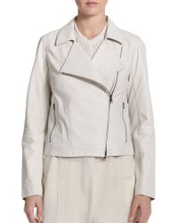 Eileen Fisher Perforated Leather Moto Jacket - Lyst