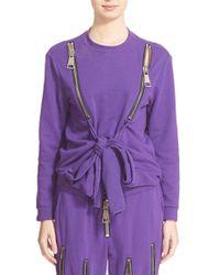 Nicopanda - Zip Detail Tie Front Sweatshirt - Lyst