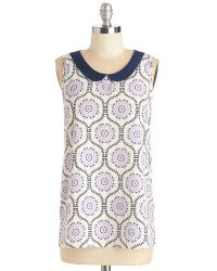 Peach Love Cream Classy Collector Top In Lilac Pattern - Lyst