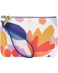 Fossil Item Printed Leather Wristlet floral - Lyst