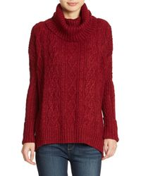 Free People Distressed Cable Knit Cowlneck Sweater - Lyst