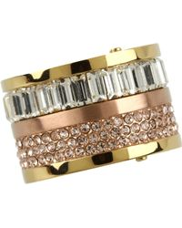 Michael Kors Brilliance Pave and Stone Barrel Ring - Lyst