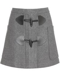 See By Chloé Gray Woolblend Skirt - Lyst