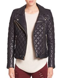 IRO Keroa Quilted Leather Moto Jacket blue - Lyst