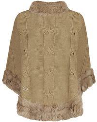 Armani Jeans Rabbit Fur Trim Poncho - Lyst