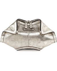 Alexander McQueen Demanta Metallic Small Clutch Bag - Lyst