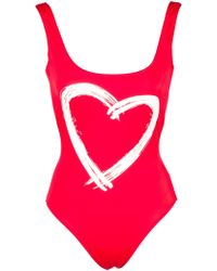 Kamali Kulture Red Low Back Tank Mio with Heart Graphic - Lyst