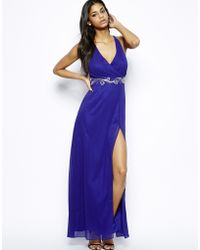 Lipsy Maxi Dress with Bead Detail and Thigh Split - Lyst