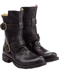 Fiorentini + Baker Calf Length Buckle Boots black - Lyst