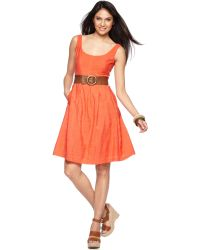Nine West Sleeveless Belted Scoopneck Dress - Lyst