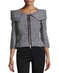 Michael Kors Zip-front Tweed Jacket - Lyst