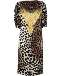 Nicole Coste - Leopard Neck Zipped Short Dress - Lyst