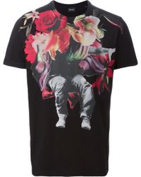 Diesel Flower Print T-Shirt black - Lyst