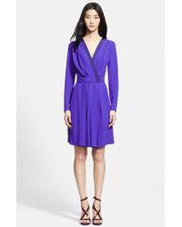 Nina Ricci Long Sleeve Faux Wrap Dress - Lyst