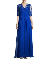 Rickie Freeman for Teri Jon Lace-Bodice Illusion-Neckline Gown - Lyst