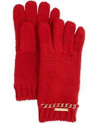 Michael by Michael Kors Knit Gloves with Chain Trim - Lyst