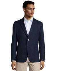 Prada Blue Hopsack Cotton 2-Button Blazer - Lyst