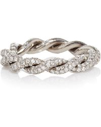 Gioia | 18k Blackened Gold Intertwined Love Rings With Diamonds | Lyst