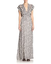 Derek Lam Printed Silk Maxi Dress - Lyst