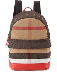 Burberry Children'S' Leather-Trim Canvas Check-Print Backpack - Lyst