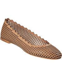 Chloé Perforated Scallop Ballet Flat Beige Leather - Lyst