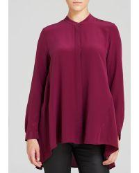 Eileen Fisher Petites Mandarin Collar Silk Blouse - Lyst
