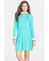 Cynthia Steffe 'Nola' Textured Knit Fit & Flare Shirtdress blue - Lyst