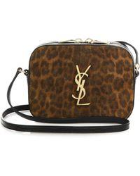 Saint Laurent Monogramme Leopard-Print Suede Crossbody Bag - Lyst